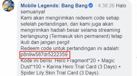 Contoh postingan Redeem Code Mobile Legend