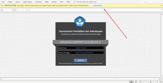 Enable Edit & Content Aplikasi