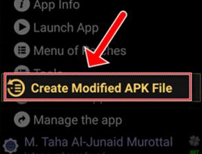 Klik Create Modified APK File