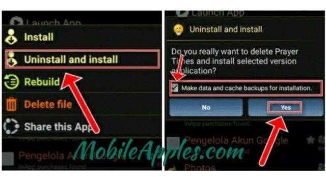Klik Uninstall and install