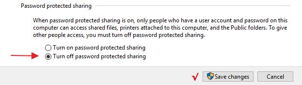 Pilih Turn off password protected sharing
